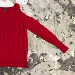 Vince Camuto Red Exposed Shoulders Long Sleeve